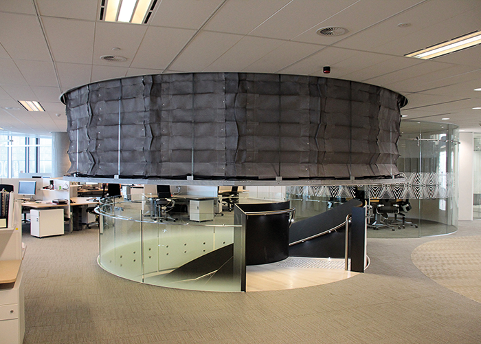 The FireMaster Concertina fire curtain can be applied to atria, escalators and stairs and will remain hidden until deployed.