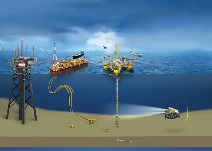 This tandem arrangement enables safe and reliable transport of offshore natural gas.