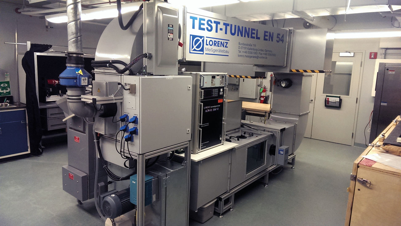 Figure 1 – The Lorenz Test Tunnel is one of the specialized pieces of equipment installed by FM Approvals to help provide test and certification services to EN 54 standards.