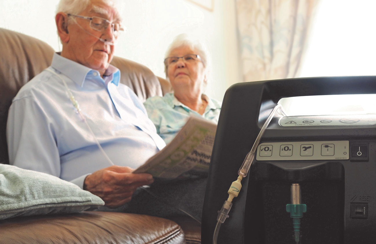 Home oxygen therapy is prescribed to patients with long-term cardiac or respiratory conditions, and is delivered in a variety of forms, including liquid oxygen in pressurized containers, an oxygen concentrator that filters oxygen from the surrounding atmosphere, or compressed gas in cylinder form.