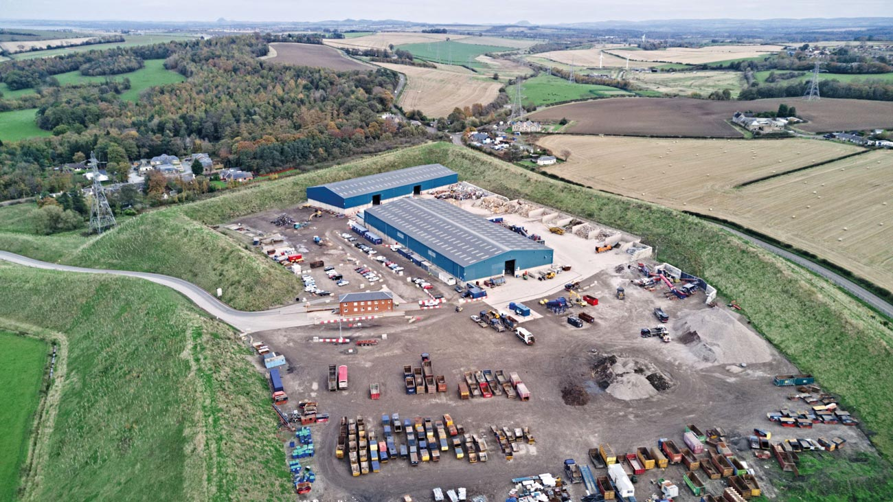 Bird's eye view of a waste transfer station.