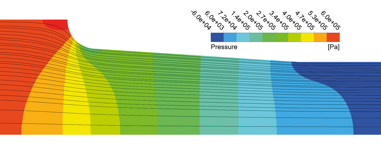 Figure 5. Streamlines and pressure distribution in the nozzle with straight inlet.