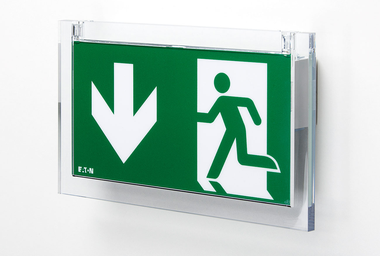 Eaton's CrystalWay self-contained emergency exit sign is the standard in high quality, aesthetic emergency exit sign luminaires, which is also available for central power supplies.