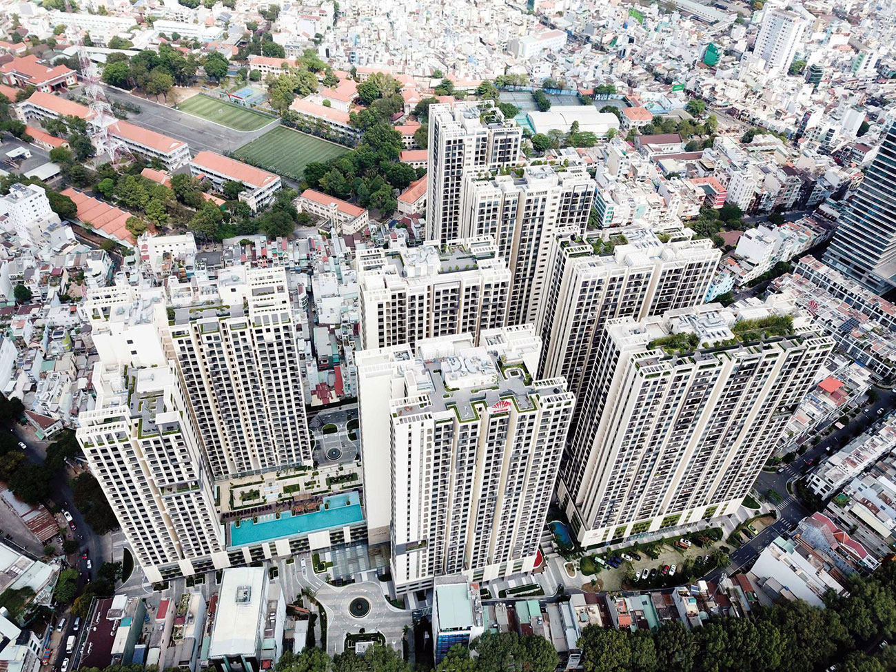An Intelligent Network of 20 Axis EN fire panels protect Ho Chi Minh City's upscale Ha Do Centrosa Garden complex.