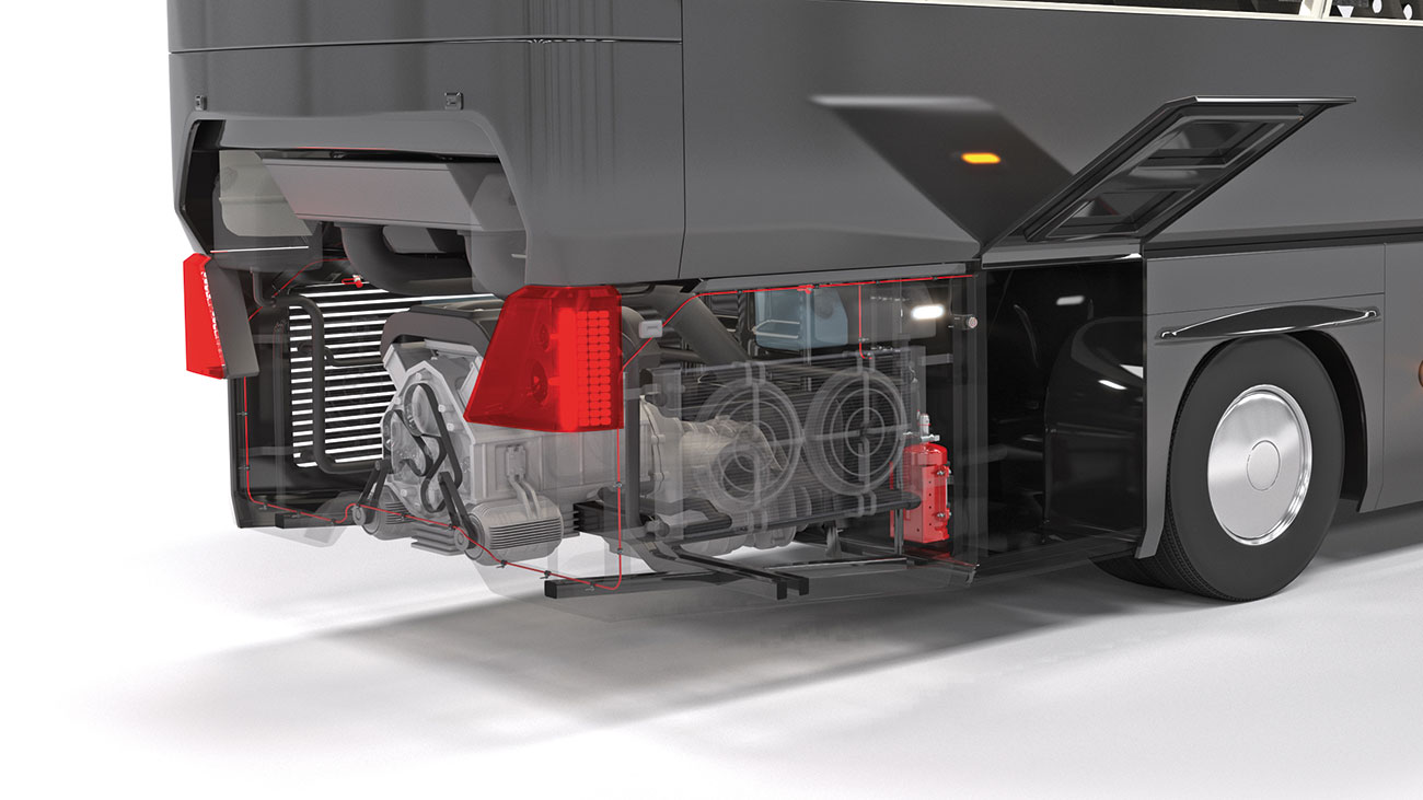 Effective fire detection and suppression in the engine area is critical to protecting against the majority of bus fires. Reacton's A+ rated systems and linear detection combine for fast detection and demonstrated suppression performance.